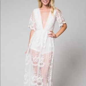 NEW! Plunge Lace Maxi Dress